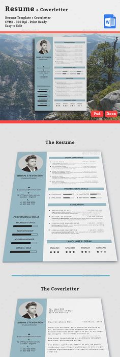 Professional Resume Template and Cover Letter Template for MS Word ...