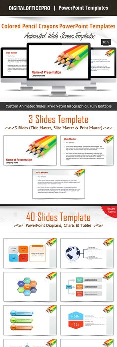 Pencils free powerpoint template template toneelgroepblik Image collections