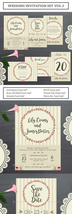 Wedding invitation set wedding invitation sets wedding and font logo wedding invitation set design template vol3 weddings cards invite template psd maxwellsz