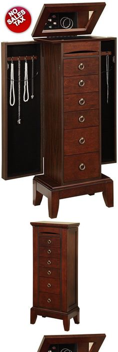 Jewelry Boxes 3820 Jewelry Armoire Organizer Chest Box Wood Cabinet