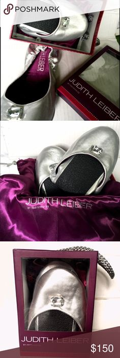 Selling this JUDITH LEIBER Silver Foldable Ballet Flat M7.5/8.5 on Poshmark!