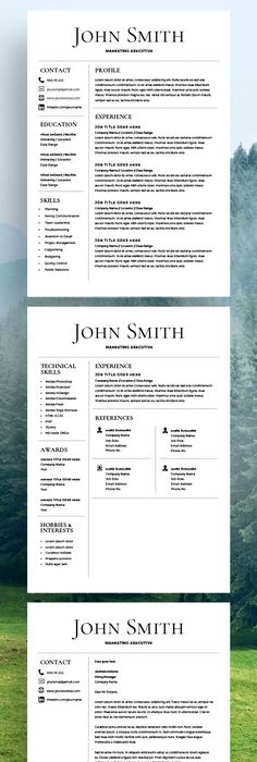 Creative Resume Template For Word A  Letter     Page