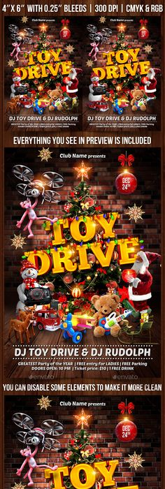 Christmas Toy Drive Flyer Template V2 Christmas Toys Flyer