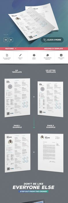 Infographic Resume / Cv Template INDD, MS Word | Resume Templates ...