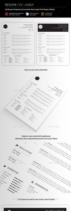 Professional Resume Template Cover Letter for MS Word Modern CV - Job Resume Format Download