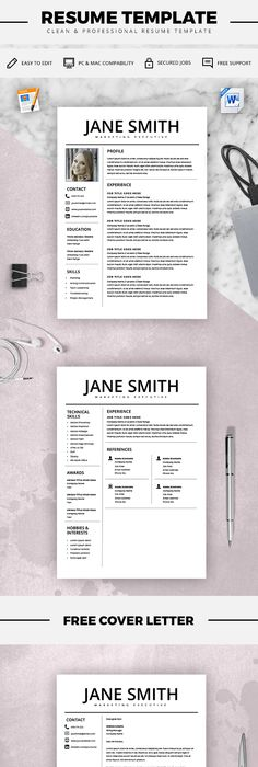 Modern Resume Template  Professional Cv Template  Cover Letter