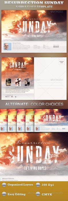Resurrection Sunday Sunrise Church Flyer  Graphic Design