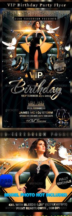 All Black  Birthday Party Flyer Template  Party Flyer Flyer