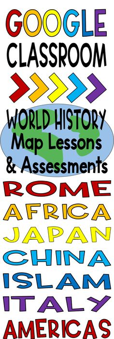 Digital and pdf world map lesson and assessment continents oceans world history map lessons bundle digital and pdf versions gumiabroncs Images