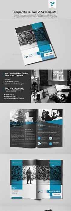 Corporate Bi-fold Brochure Template 05 Brochure template - half fold brochure template