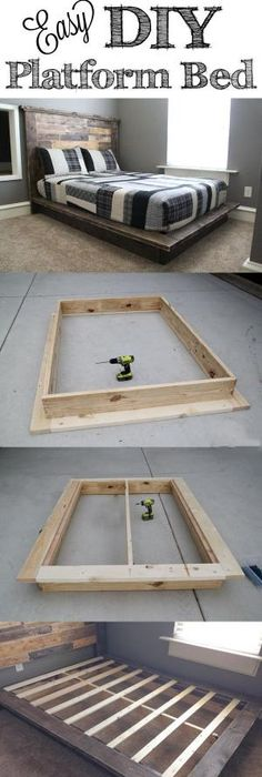 Free DIY Furniture Project Plan From Learn How To Build An Easy Platform Bed.  Gonna Need To Keep This In Mind. Would Be A Cheap Pretty Alternative Rather  ...