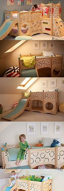 Cool Kids Room Idea I Would Add Another Way To Get Up To The Bed Instead Of  Just A Ladder And The Slide Because Kids Like To Mix It Up And U ...