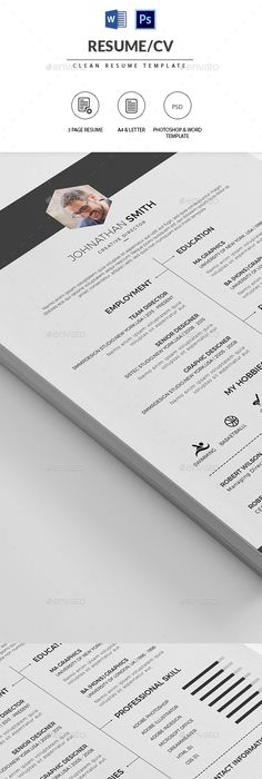 Minimalistic, clean #resume template perfect for creative - resume template