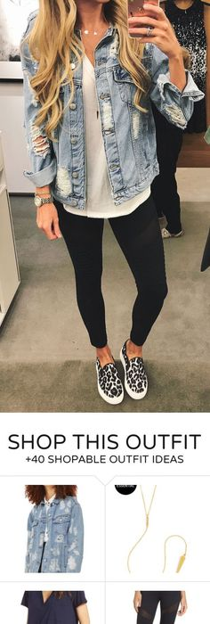 #summer #outfits Ripped Denim Jacket + Black Crop Skinny Pants + Leopard  Pumps