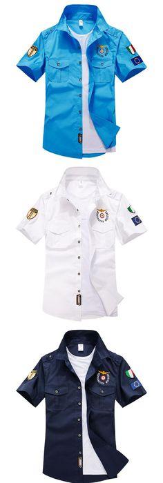 b7a753d7673d 2017 Summer Mens Short Sleeve Cotton Aviator Shirt Men Shirts Solid Chemise  Homme Aeronautica Militeare Mens