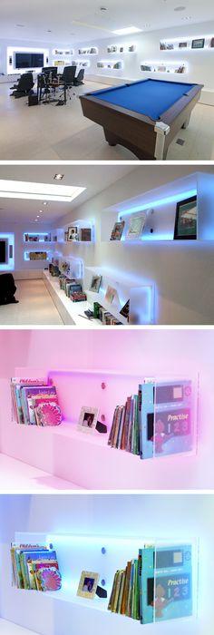 LED glass shelf lighting A beautiful LED lighting effect for glass ...