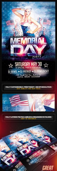 Memorial Day Weekend V Psd Flyer Template  Psd Flyer Templates