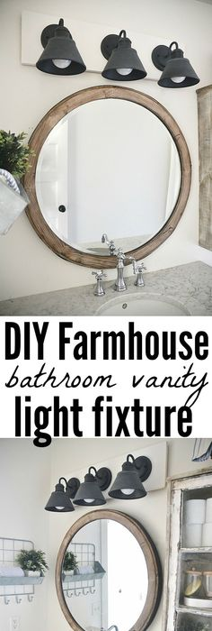 See how to make this super simple farmhouse bathroom vanity light fixture  on a budget DIY Farmhouse Bathroom Vanity Light Fixture fixtures