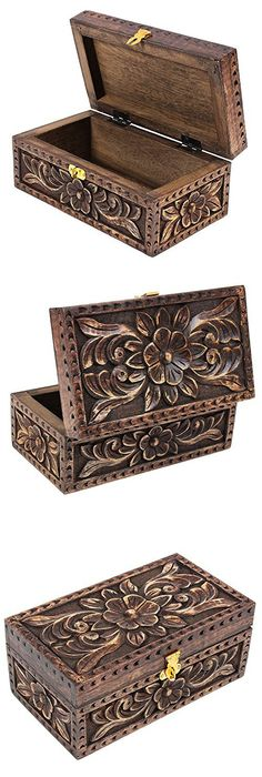 Lotus Jewelry Box Wooden Keepsake Box Handmade Thai Teak Wood