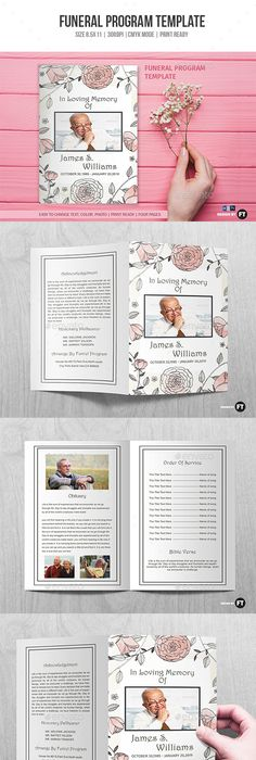 Funeral Program Brochure Template  Celebration Of Life  Brochure