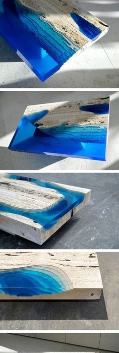 Ocean Coffee Tables That I Made By Merging Natural Stone And Resin ...