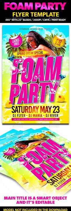 Foam Party FlyerPoster  Foam Party Party Flyer And Print Templates