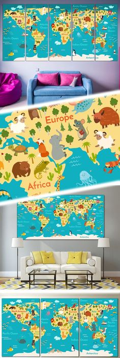 World Map - Peel and Stick Poster Sticker Fabric posters, Fabrics - fresh world map outline decal