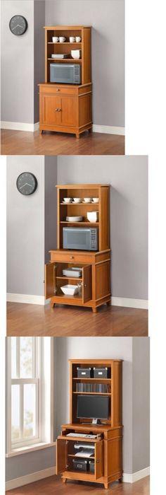 Kitchen Islands Carts 115753 Microwave Stand Wood Utility Island Cart Hutch Storage Organizer