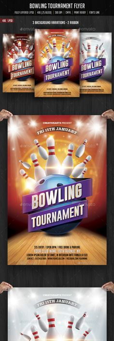 Bowling Night Flyer Template V On Behance  Marketing Ideas