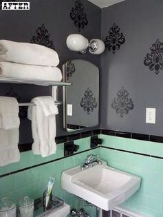 mint, black, charcoal + white retro-turned-modern bathroom