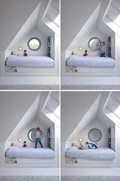 An interesting design detail in this kids bedroom is the use of a round window. Instead of trying to find a curtain or blind to cover the window, the designers created an upholstered circular cushion with a handle that can easily fit into the window frame, blocking out the light. #RoundWindow #CircularWindow #RoundWindowCovering #InteriorDesign #Interiors #KidsBedroom