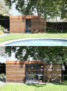A modern backyard shed that hides a potting room behind a sliding door.