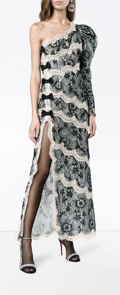 ALESSANDRA RICH one-shoulder lace dress, explore new season now on Farfetch.