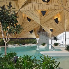 A public swimming pool with an angular wood ceiling.