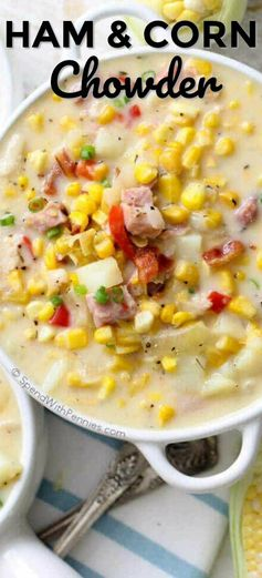 Ham and Corn Chowder is a quick weeknight meal with lots of corn, veggies, bacon and ham. This corn soup recipe is rich, creamy and delicious! #spendwithpennie #cornchowder #hamchowder #souprecipe #easysouprecipe