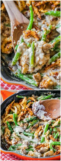 Creamy, bubbly warm green bean casserole made from scratch. Homemade crispy onions on top too!