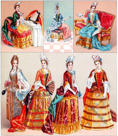 The Fontange. Female costumes under the reign of Louis XIV.