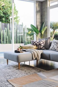 Living space perfection with our Hem Sofa with wooden legs... feels like Palm Springs!