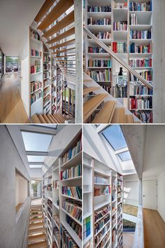A bookcase that travels through the three floors of a modern house.