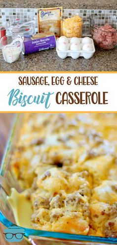 SAUSAGE, EGG, CHEESE BISCUIT CASSEROLE | The Country Cook
