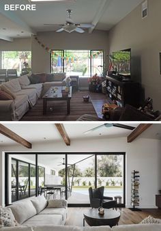 Windows in a living room replaced with pocketing sliding glass doors.