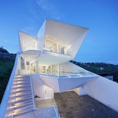 A modern house with sharp angles.