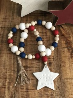 4th of July Patriotic Star Red White and Blue Farmhouse Wood Bead Decor