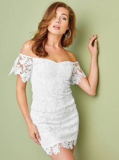 ROSELEE OFF-THE-SHOULDER DRESS A flirty off-the-shoulder midi dress that's perfect for your next glam outing. It features a crochet lace construction, a sweetheart neckline, short sleeves with elastic and a scalloped hem. Back zipper closure.