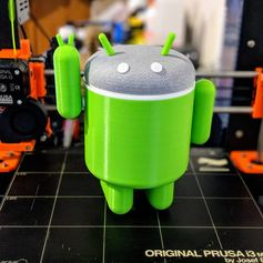 Decided to give my #googlehomemini a #3dprinted body - and what's more appropriate than an #android? #prusai3 #prototyping #toysandgames