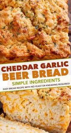 Garlic Cheddar Beer Bread (cheddar bay flavor) - The Chunky Chef