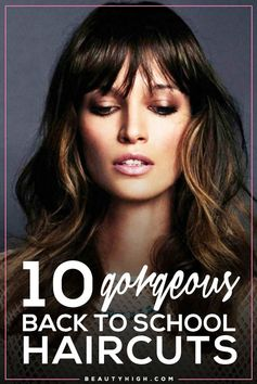 10 gorgeous back to school haircuts // wavy hair with bangs and painted highlights