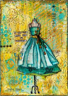 Summer. Mixed media collage. Size 21*30 cm. Made by Daria Pneva. More details on blog.