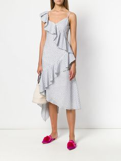 Shop Teija polka dot asymmetric dress