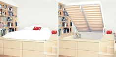A Platform Bed Was Built For This Small Bedroom With Storage Under And Around It